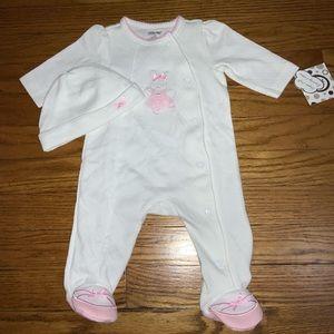 BABY GIRL BALLET BUNNY FOOTIE & BEANIE SET 3 MONTH